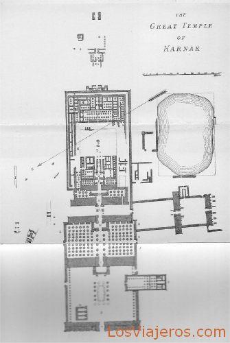 Plane of the great Temple of Karnak - Egypt Plano del gran Templo de Karnak - Egipto