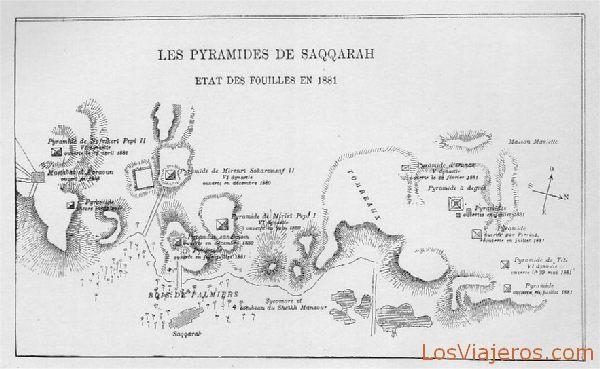Plano de las pirámides de Saqqarah - Egipto