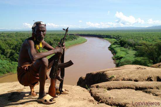 Viejo guerrero Karo - Murille - Valle del Omo - Etiopia Old Karo warrior - Omo Valley - Ethiopia