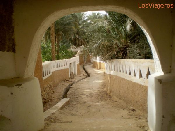 Ghadames, cuidad vieja, salida a una zona de huertos, cercana a la alberca - Libia Ghadames, old town, outlet to some orchards near the pond - Libya