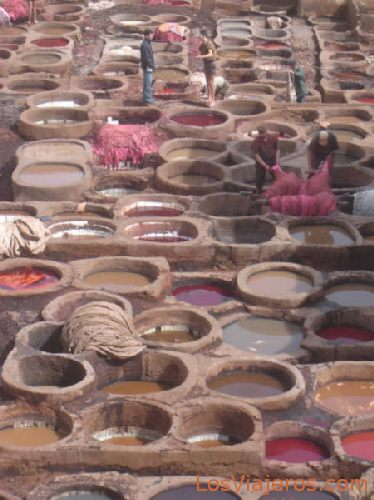Leather dyeing - Fes - Morocco Tintes en Fez - Marruecos