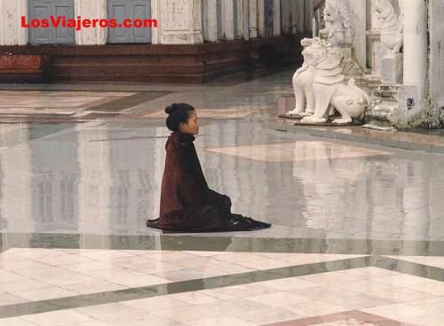 Mujer rezando en la pagoda de Shwedagon - Yangon - Myanmar