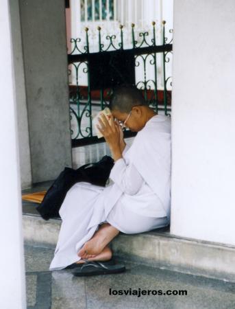 Buddhist num in Wat Suthat - Bangkok - Thailand Buddhist num in Wat Suthat - Bangkok - Tailandia