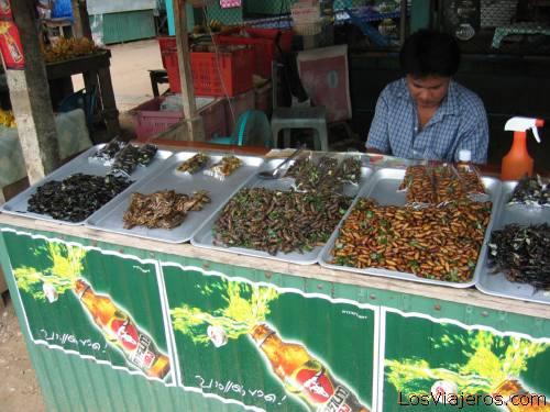 Lampang's market, insects to eat - Thailand Mercado de Lampang, insectos para comer - Tailandia