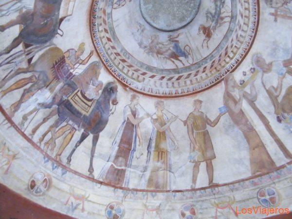 Detalles de la cúpula  de la tumba tracia de Kazanlak - Bulgaria