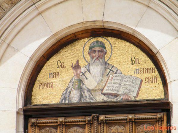 Detalle de la puerta de la catedral de Alexander Nevsky, en Sofia - Bulgaria
