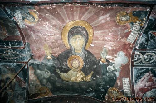 Patmos-Fresco in Monastery of Aghios Ioannis Theologos-Greece Patmos-Fresco del Monasterio de San Juan el Teólogo-Grecia